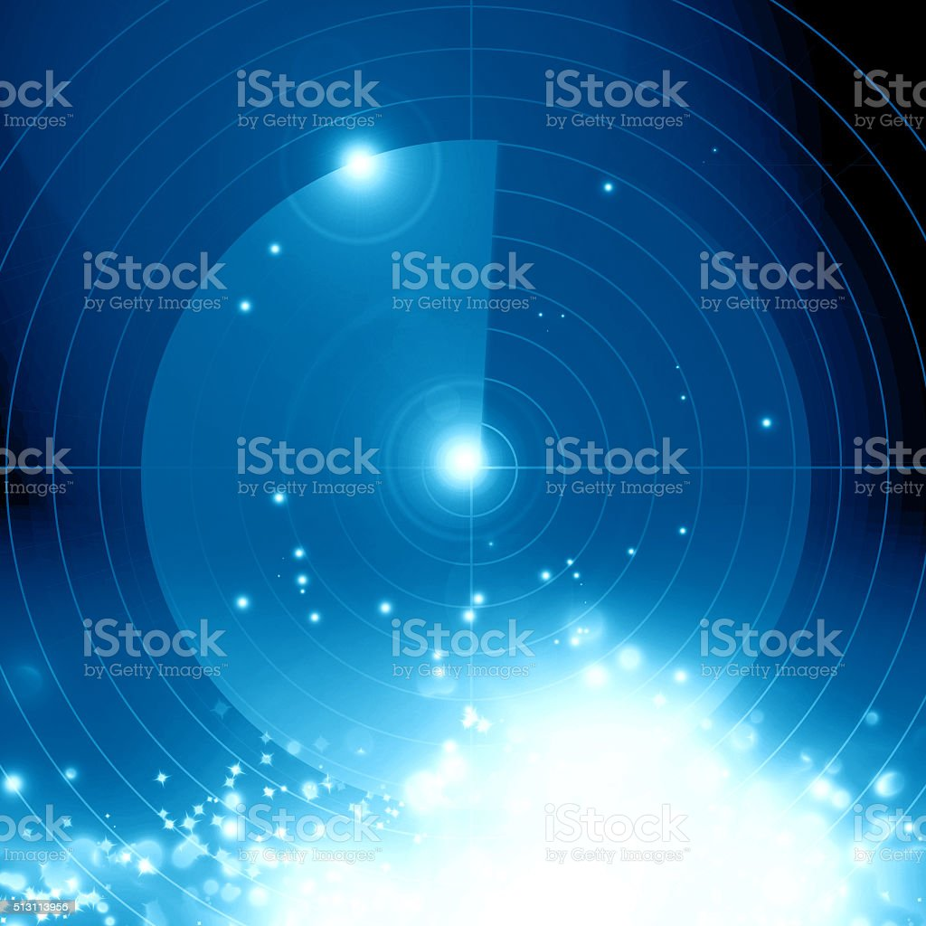 Blue radar screen stock photo