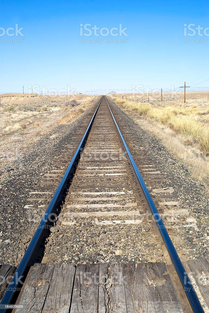 blue railroad tracks stock photo