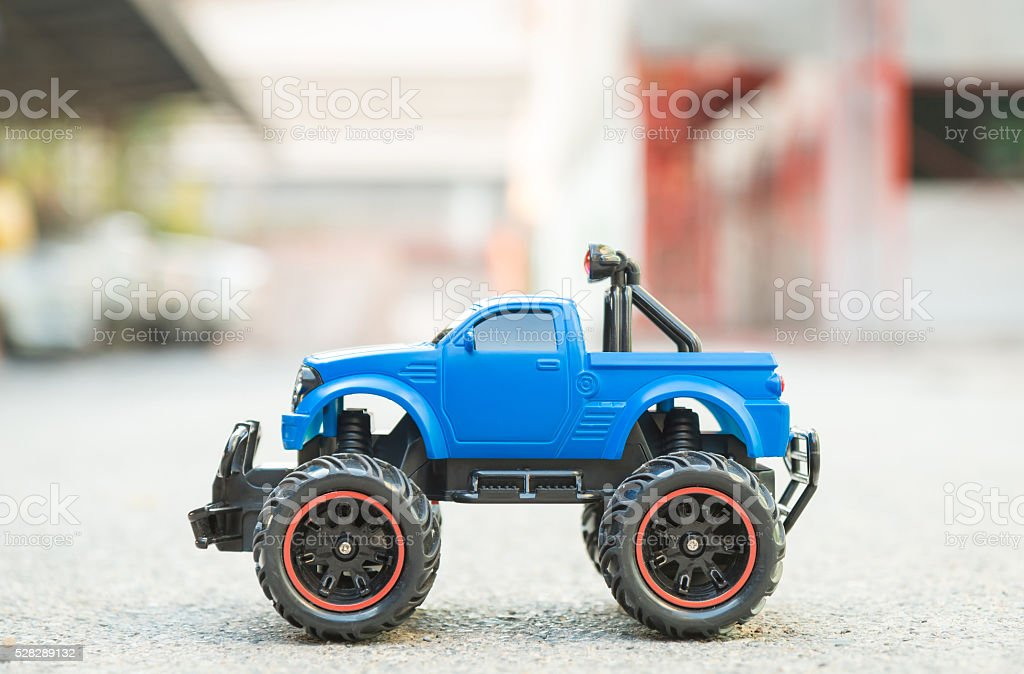 Blue RC truck car (Radio-controlled car) stock photo