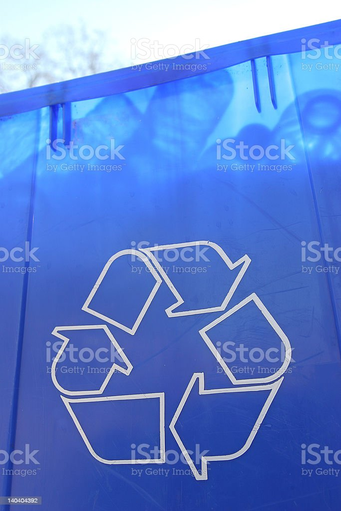 Blue Recycle Bin 5 royalty-free stock photo