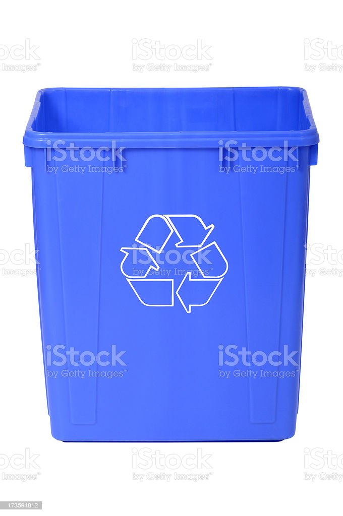 Blue Recycle Bin royalty-free stock photo
