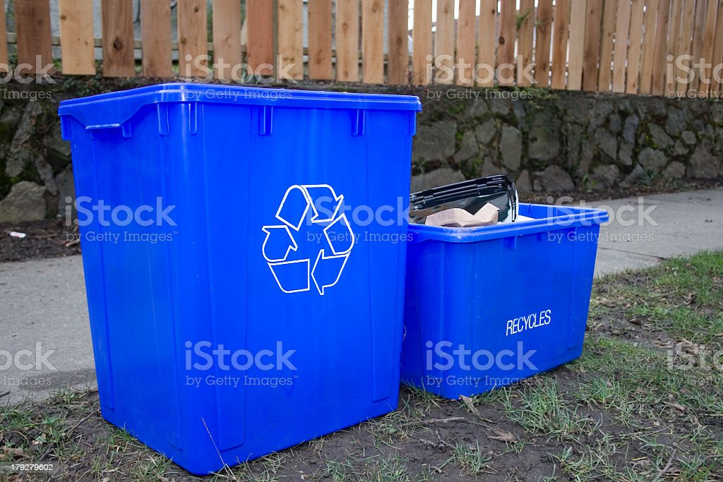blue recycle bins royalty-free stock photo