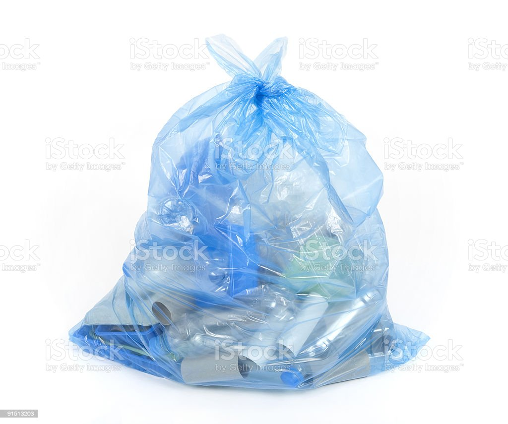 Blue recycling bag stock photo