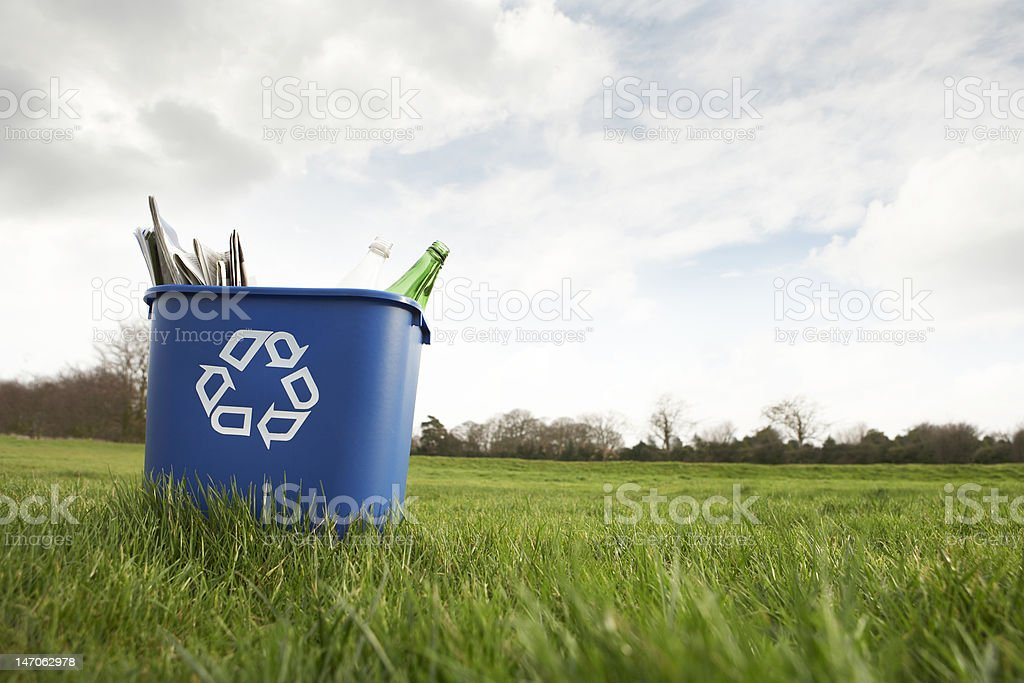 Blue recycling bin sitting on grass stock photo