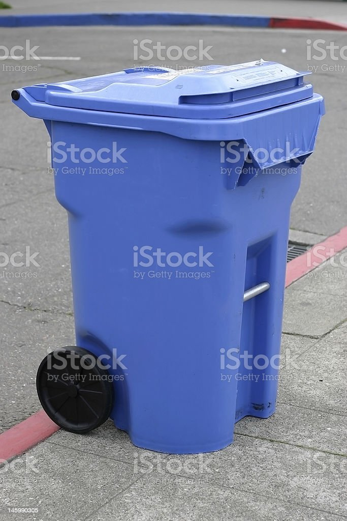 blue recycling container stock photo