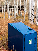 Blue Recycling Trash Can in Outdoor Wilderness Area