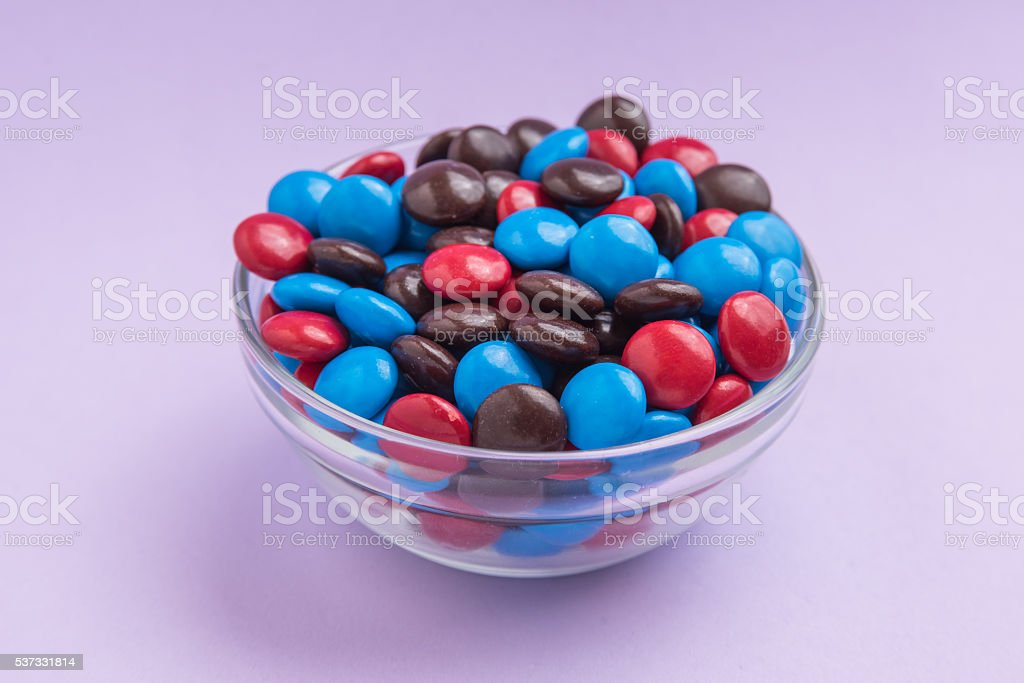 Blue, Red and Brown Chocolate Candies stock photo