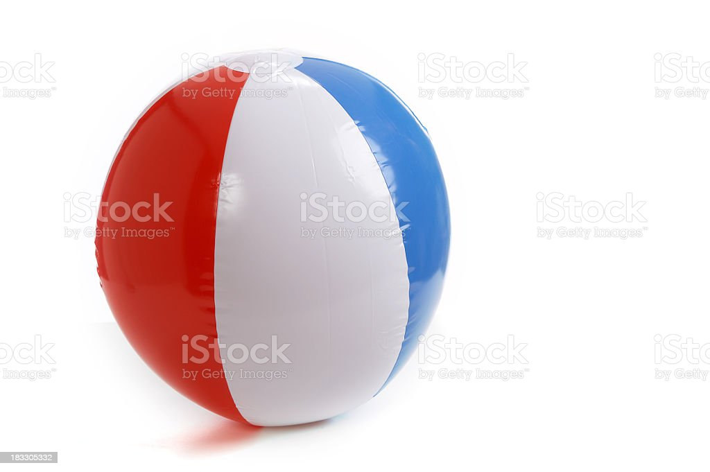 A blue red and white beach ball stock photo