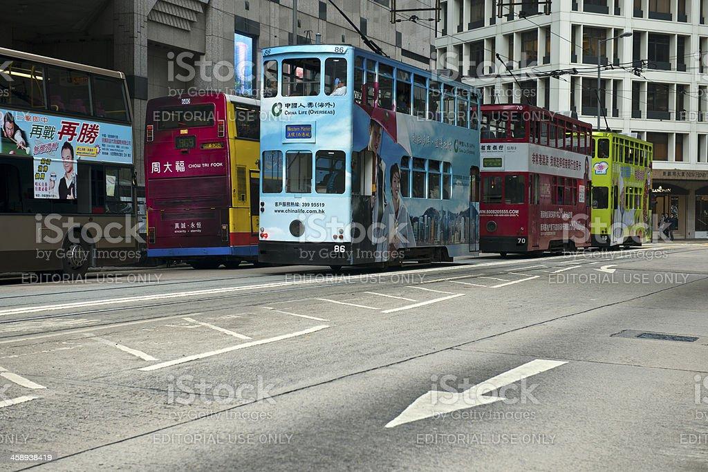Blue Red Green Trams in Hong Kong China royalty-free stock photo