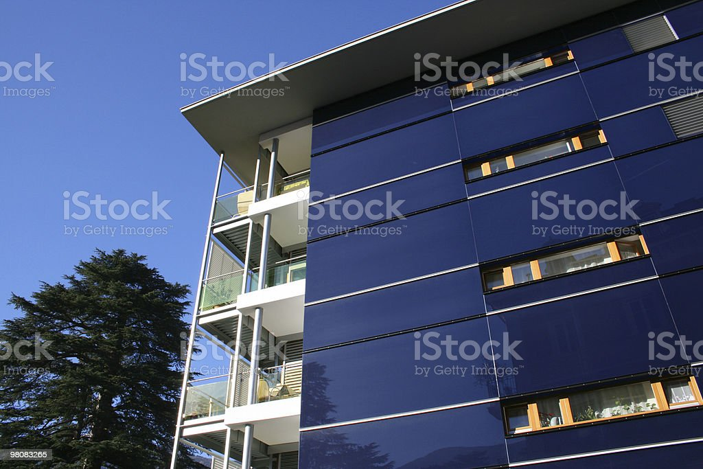 Blue residential building royalty-free stock photo
