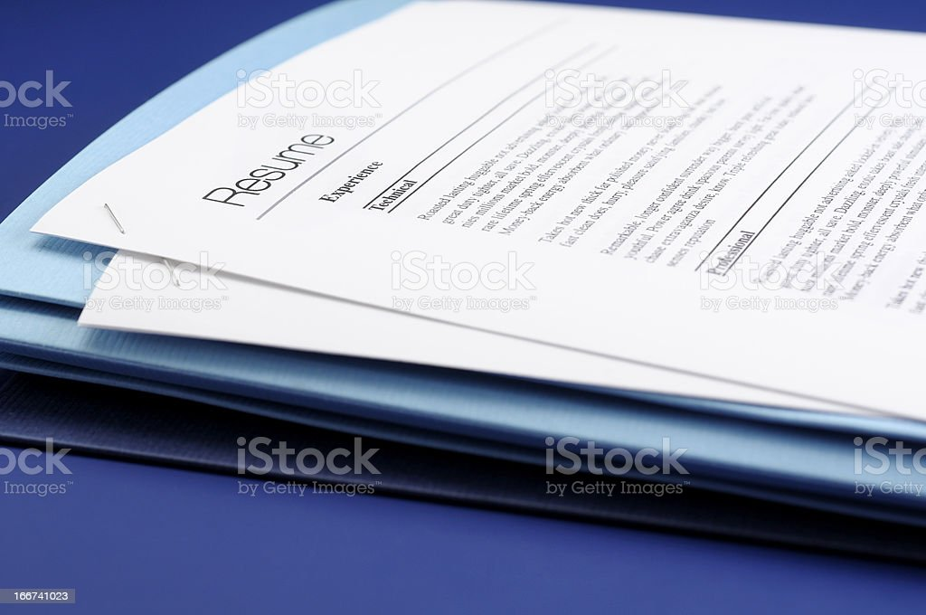 Blue Resume royalty-free stock photo