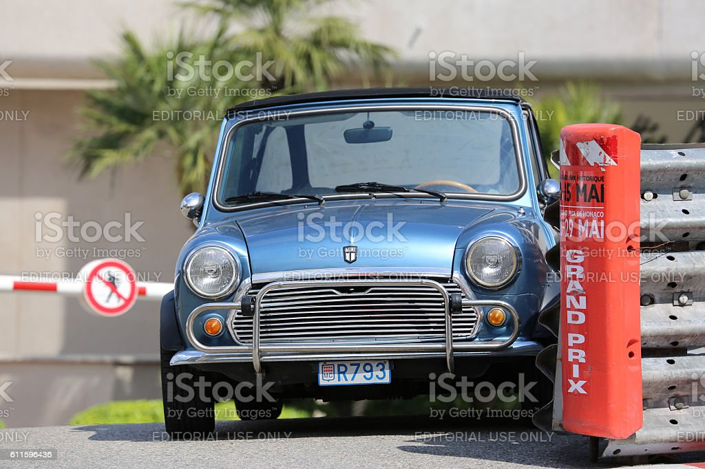 Blue Retro Car Austin Mini Cooper stock photo