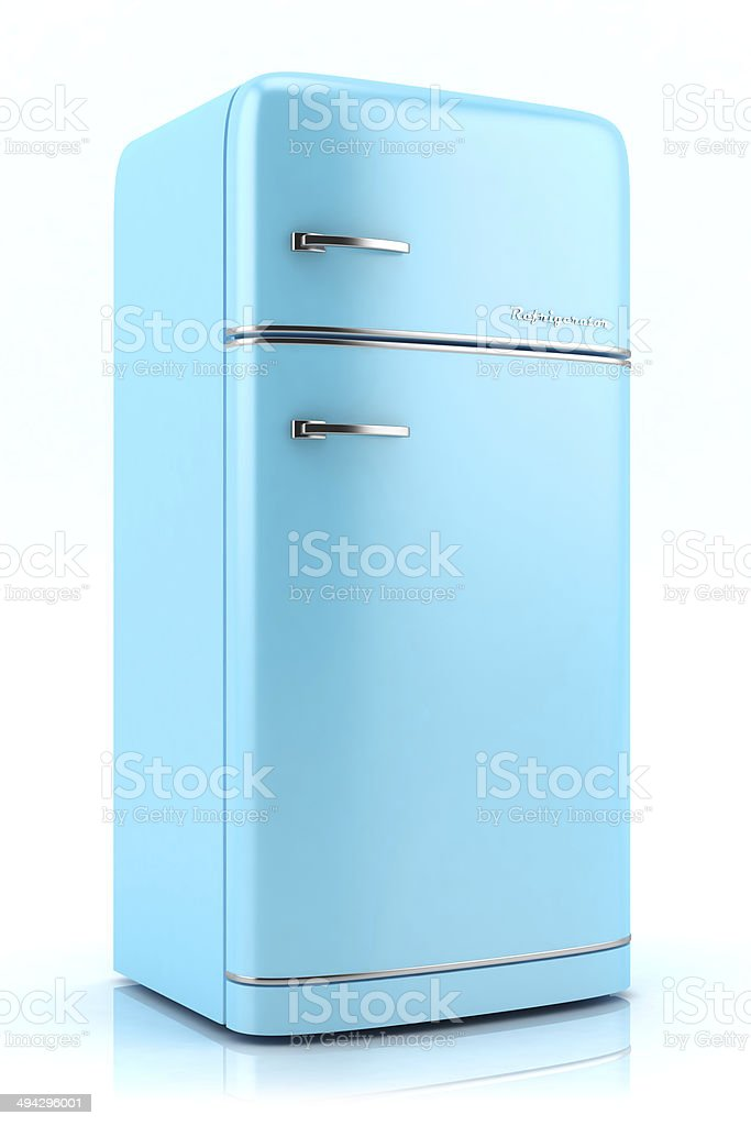 Blue retro refrigerator 3D stock photo