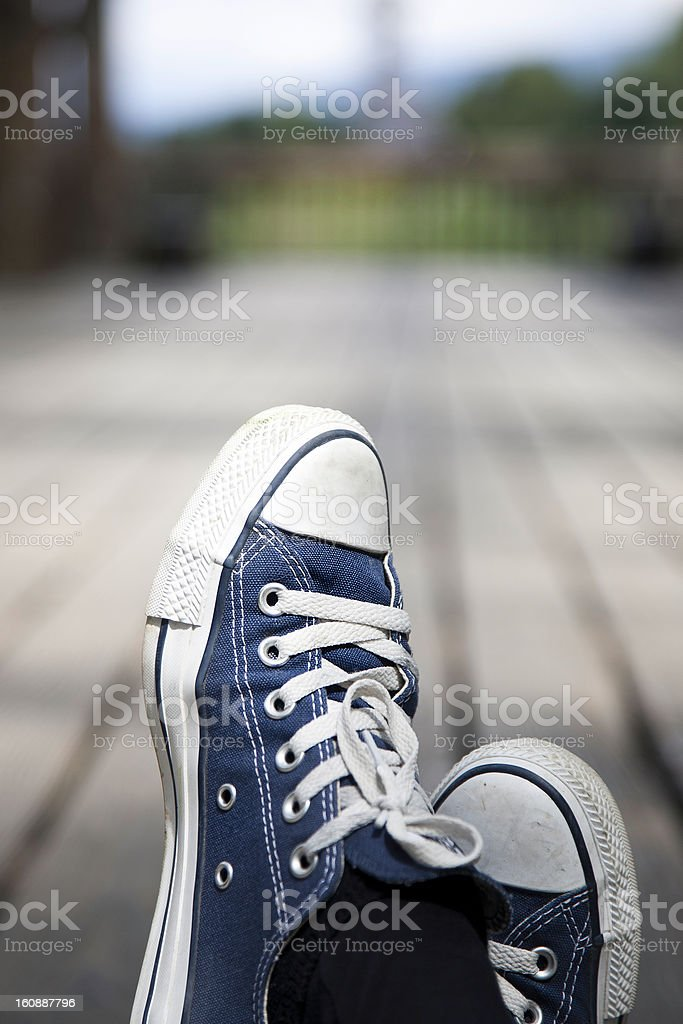 Blue retro shoes outdoors royalty-free stock photo