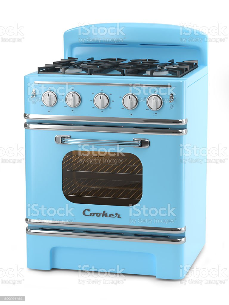 Blue retro stove stock photo