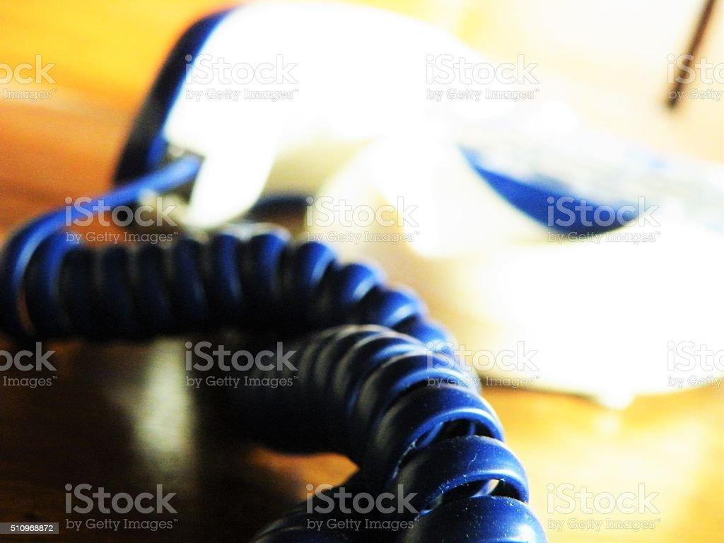 blue retro styled telephone stock photo