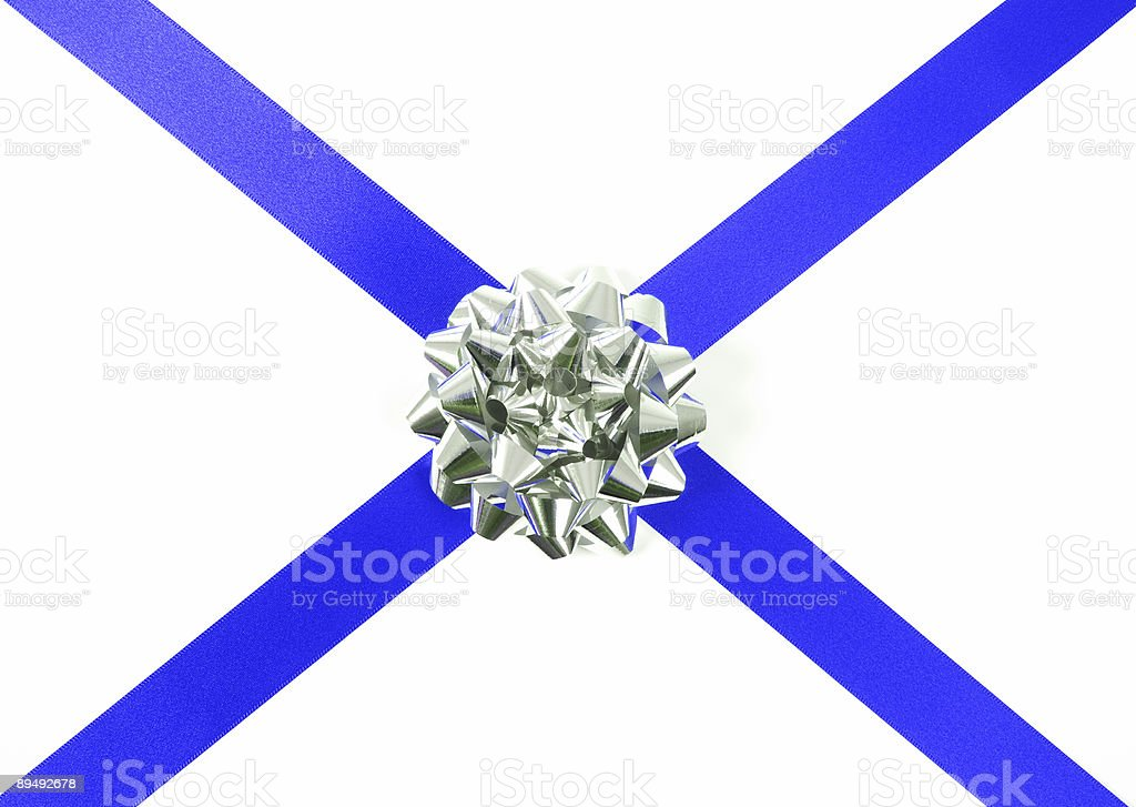 Blue ribbon and silver bow royalty-free stock photo
