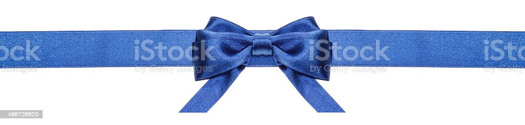 blue ribbon and symmetric bow with horizontal ends stock photo