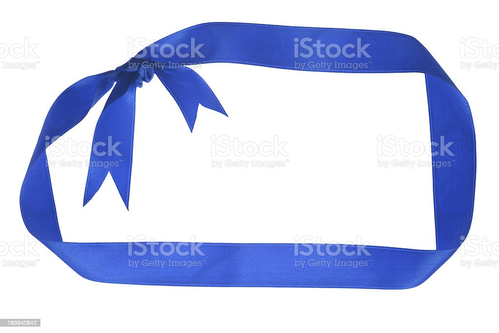 blue ribbon as frame isolated on white stock photo