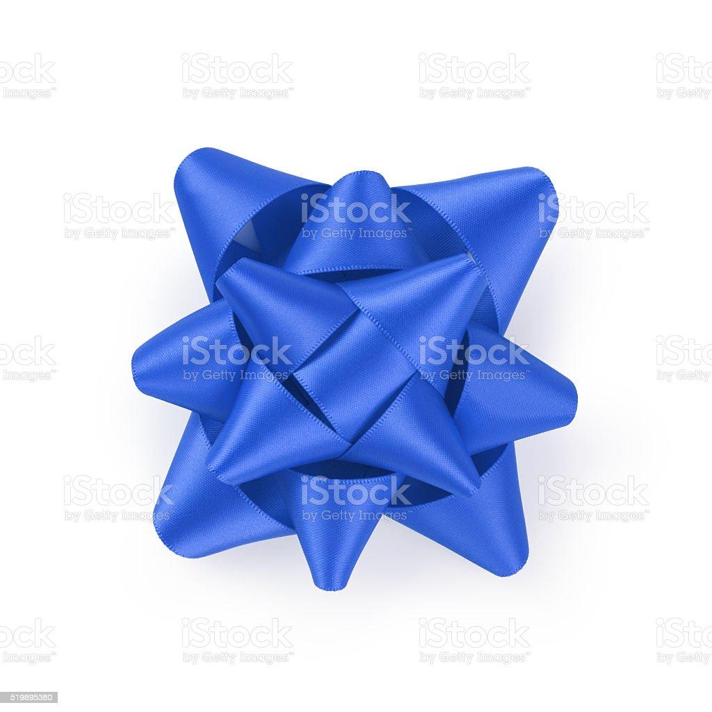 blue ribbon gift bow isolated on white stock photo