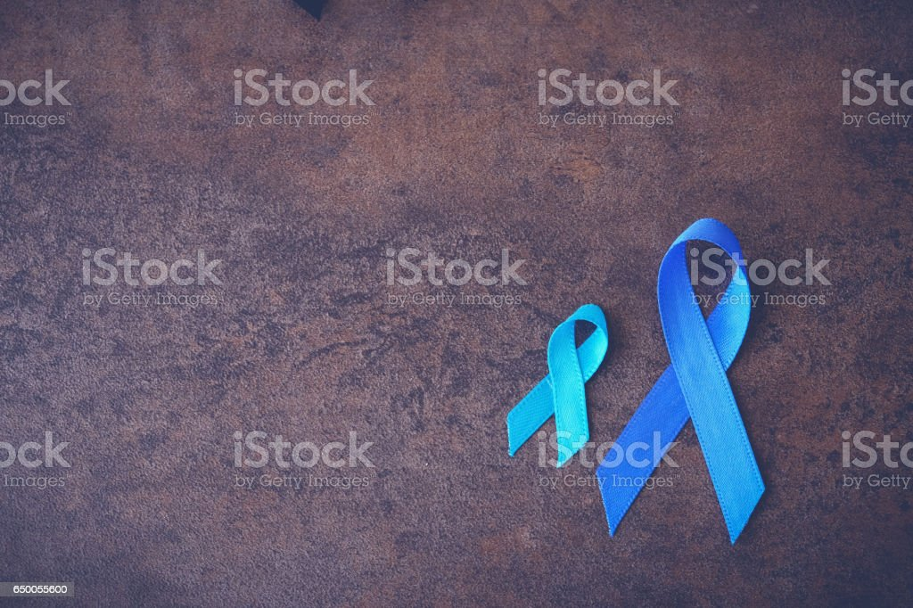 Blue ribbons toning background, Colon Cancer, Colorectal Cancer, Child Abuse awareness stock photo