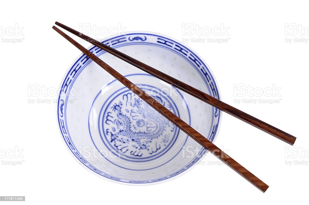 Blue rice bowl with chopsticks (XL) royalty-free stock photo