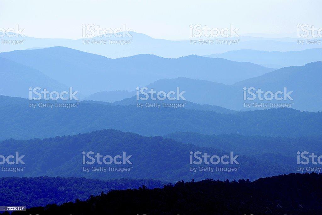 Blue Ridge Mountain Range Vibrant Layers stock photo