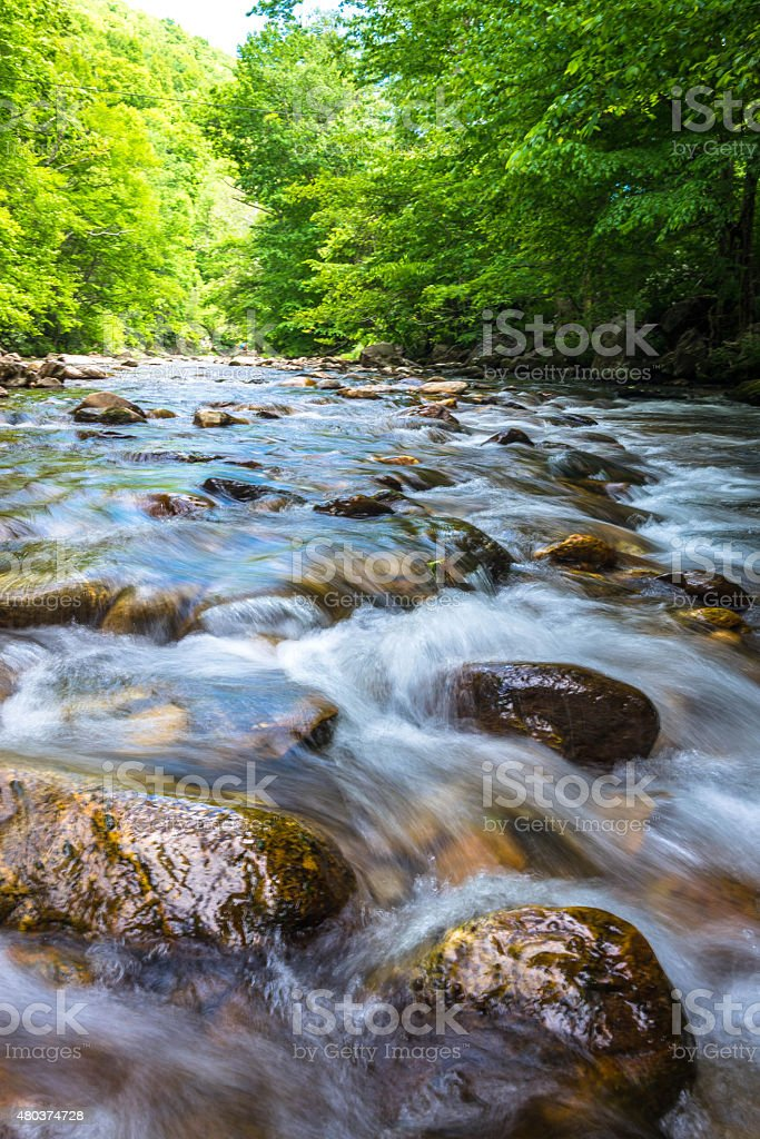 Blue Ridge Mountain River Flow stock photo