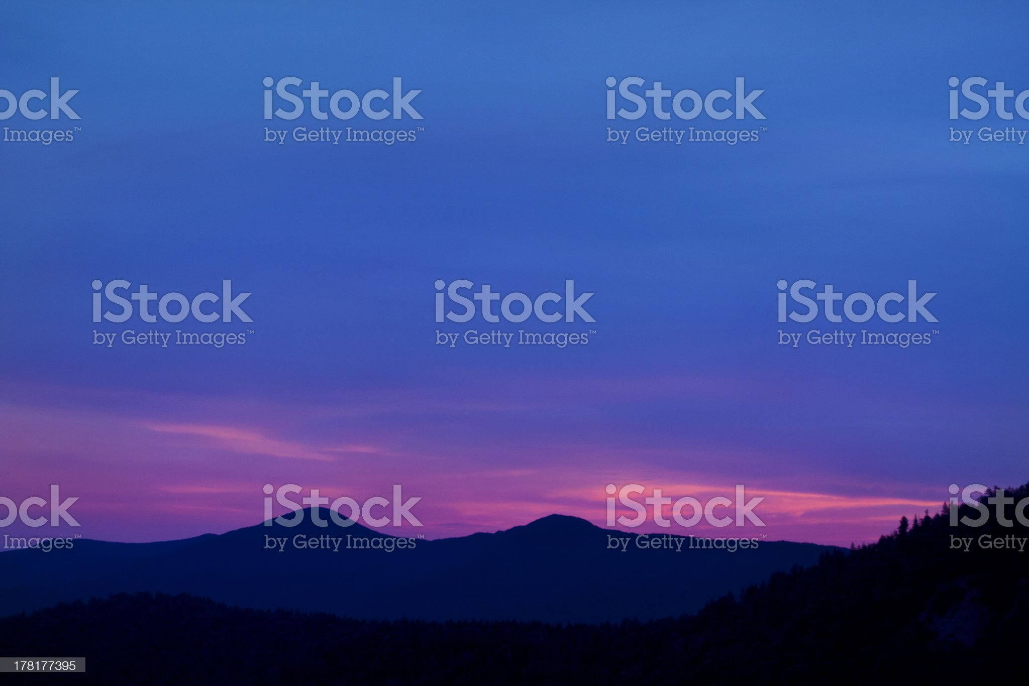 Blue Ridge Mountain scene at dusk royalty-free stock photo