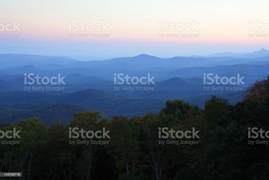 Blue Ridge Mountain Sunset stock photo