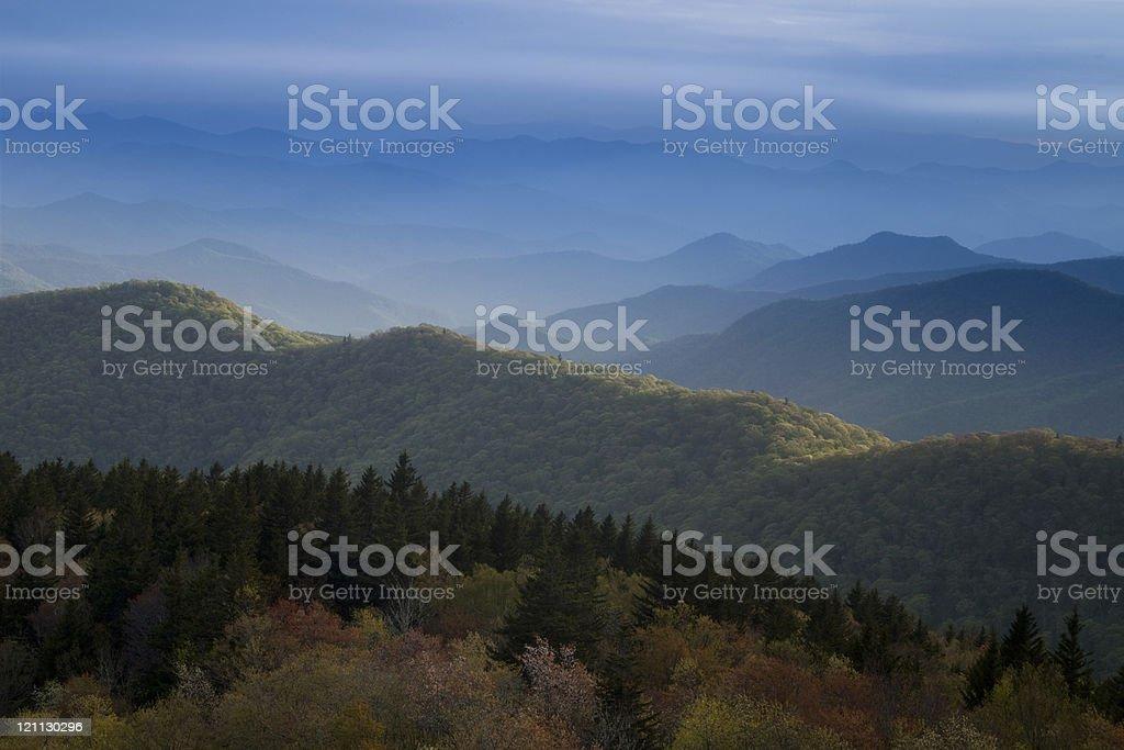 Blue Ridge Mountains at dusk royalty-free stock photo