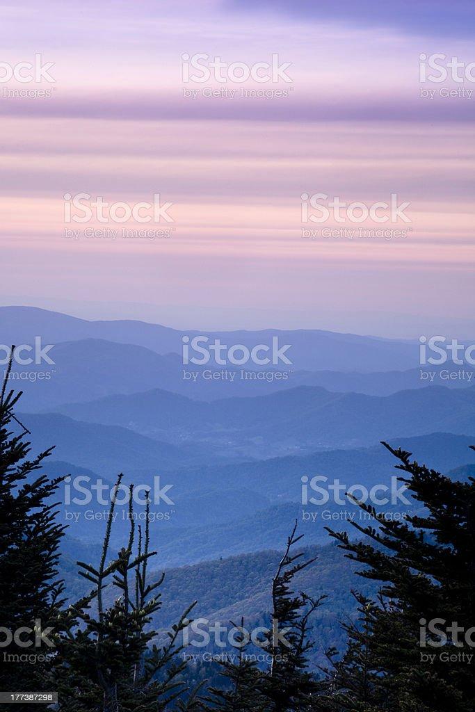 Blue Ridge Mountains at Dusk stock photo