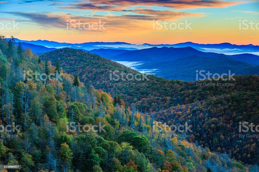 Blue Ridge Mountains at Sunrise stock photo