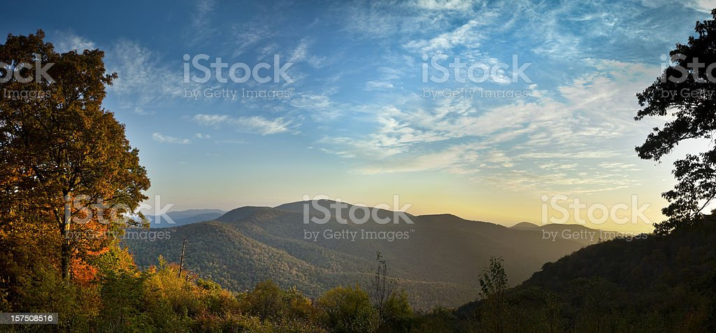 Blue Ridge Mountains in Autumn Panorama stock photo
