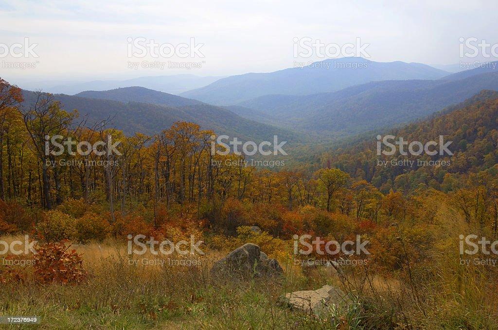 Blue Ridge Mountains in Colorful Autumn Splendor royalty-free stock photo
