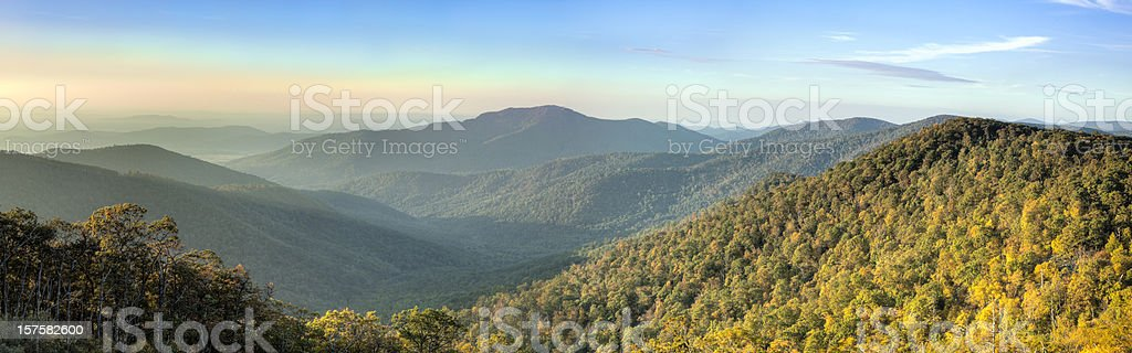 Blue Ridge Mountains in Early Morning Panorama stock photo