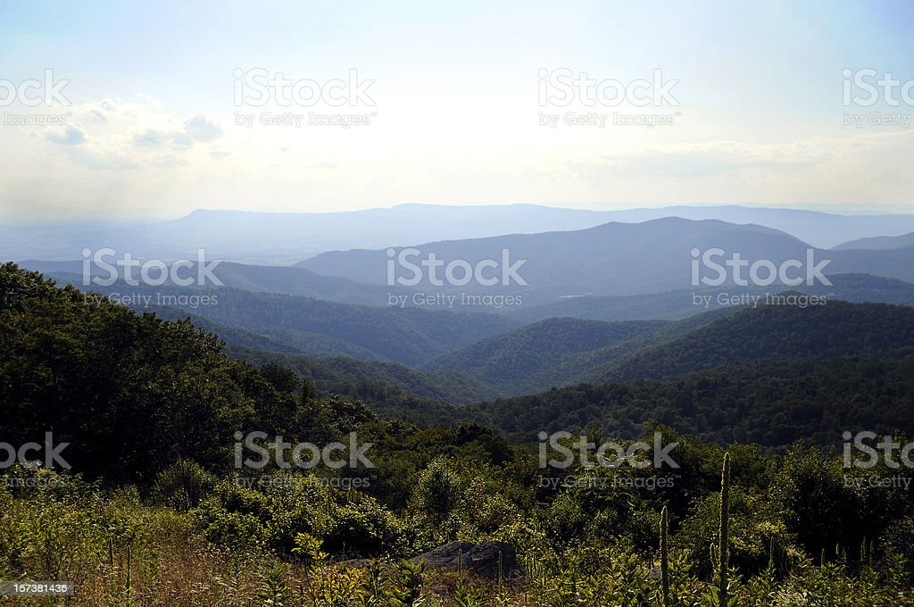 Blue Ridge Mountains in summer stock photo