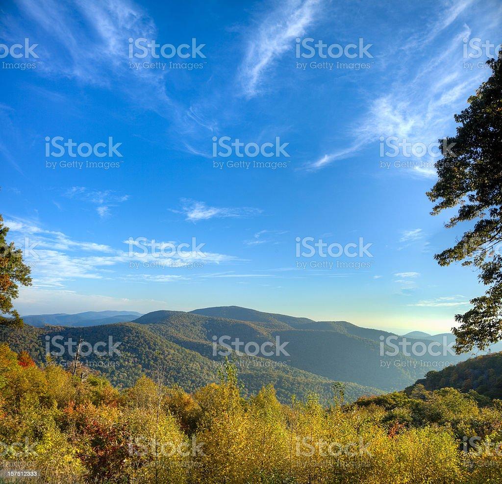 Blue Ridge Mountains on a Sunny Morning stock photo