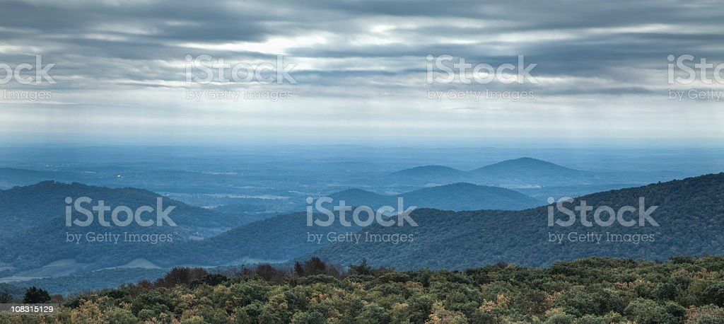 Blue Ridge Mountains on an Overcast Day stock photo