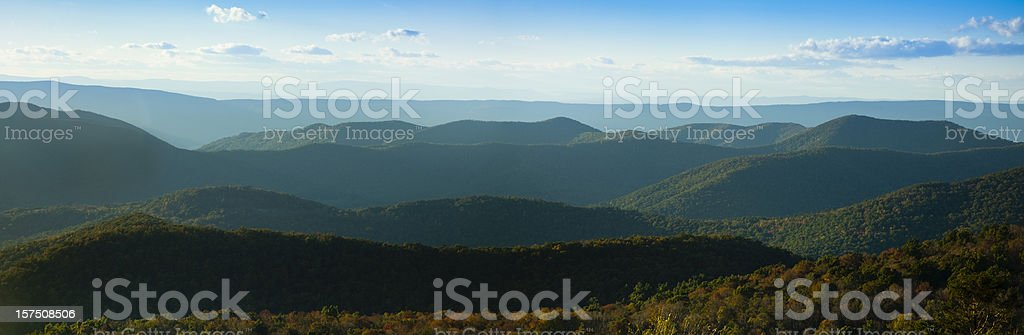 Blue Ridge Mountains Panorama stock photo