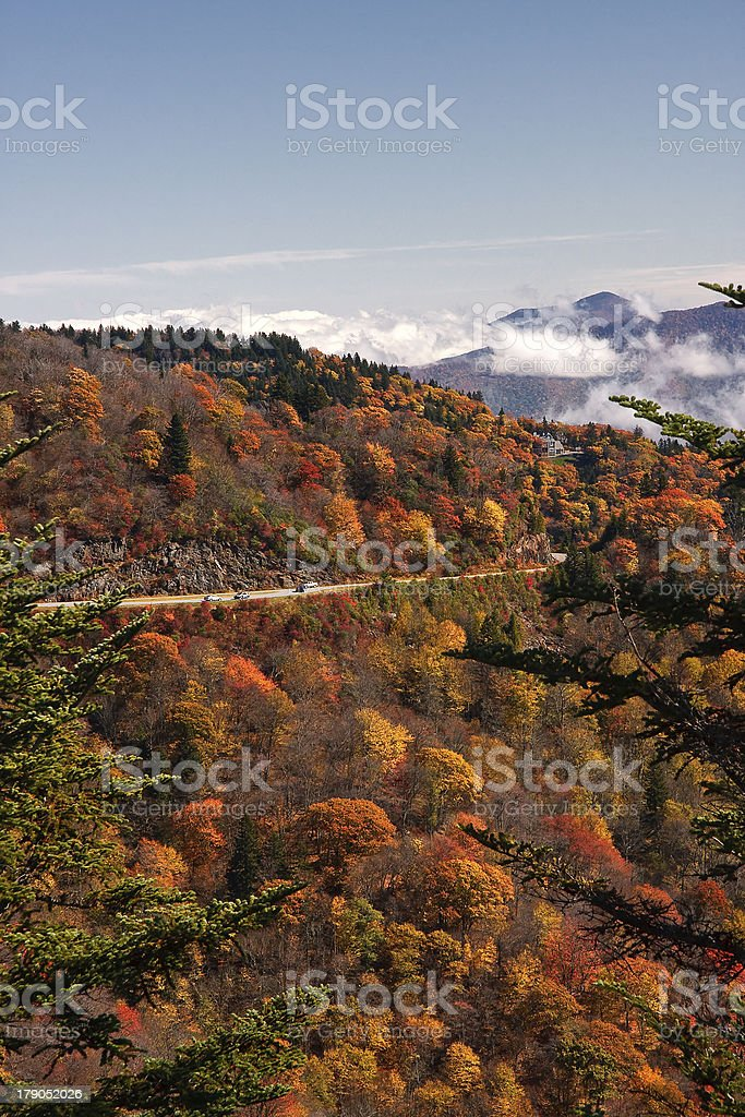 Blue Ridge Parkway and Clouds stock photo