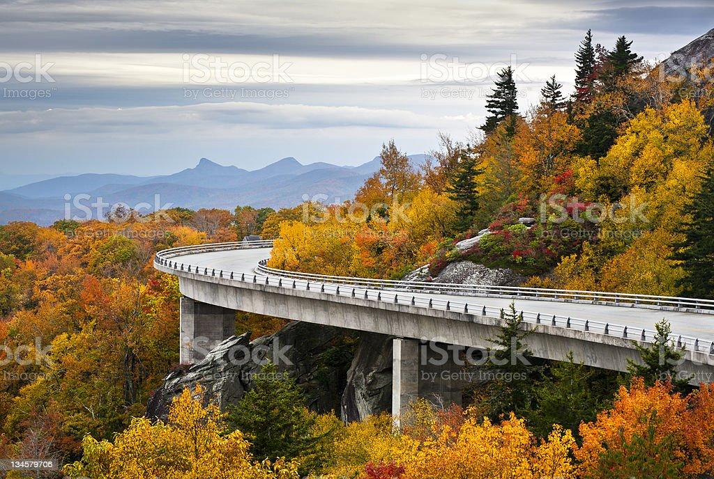 Blue Ridge Parkway Autumn Linn Cove Viaduct Fall Foliage Mountains stock photo