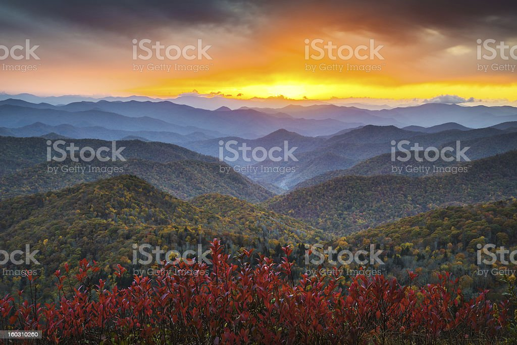 Blue Ridge Parkway Autumn Mountains Sunset Western NC Scenic Landscape stock photo