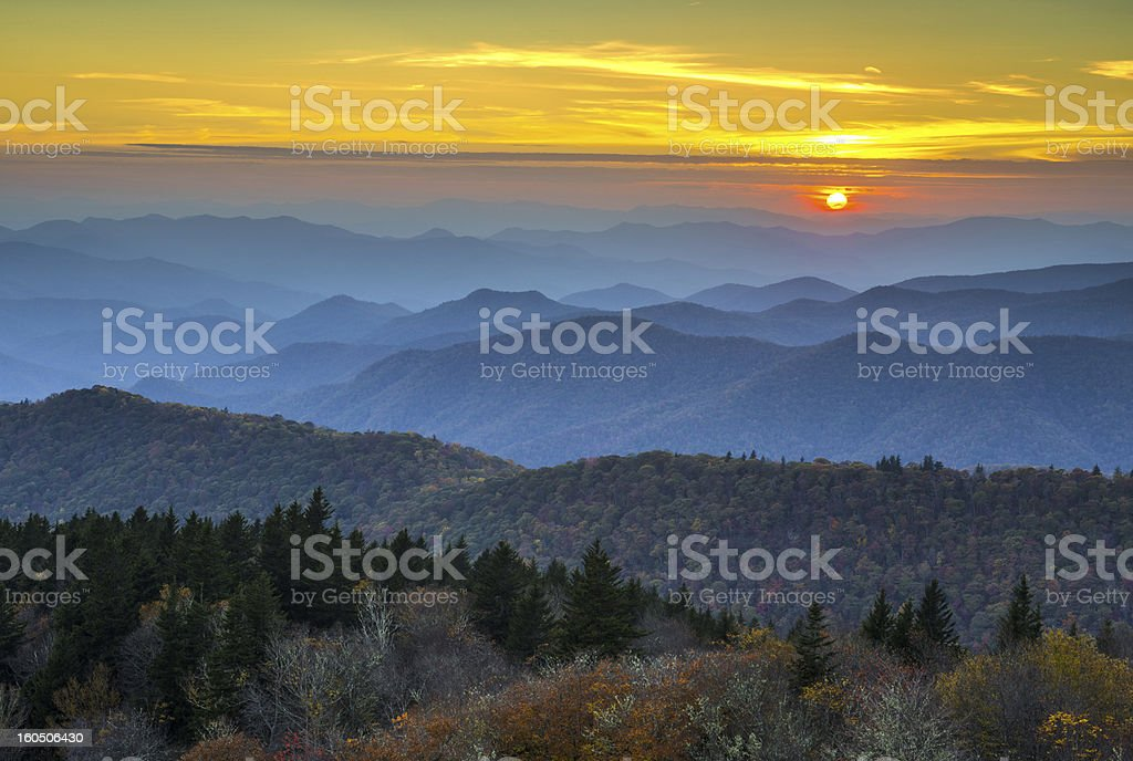 Blue Ridge Parkway Autumn Sunset over Appalachian Mountains Layers stock photo