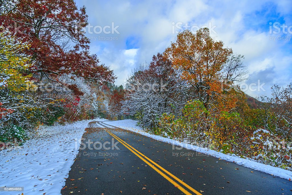 Blue Ridge Parkway in autumn and winter stock photo