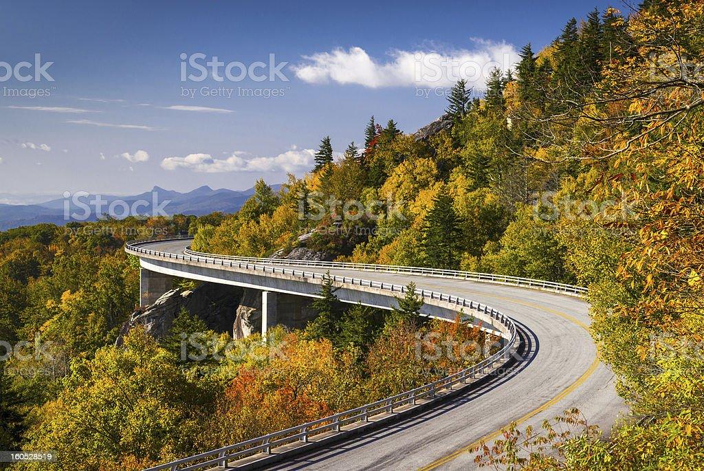 Blue Ridge Parkway Linn Cove Viaduct North Carolina Appalachian Landscape stock photo