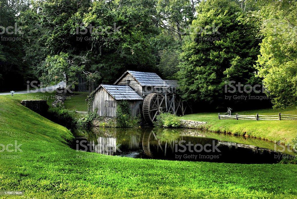 Blue Ridge Parkway Mabry Mill Lush Green Summer Setting royalty-free stock photo
