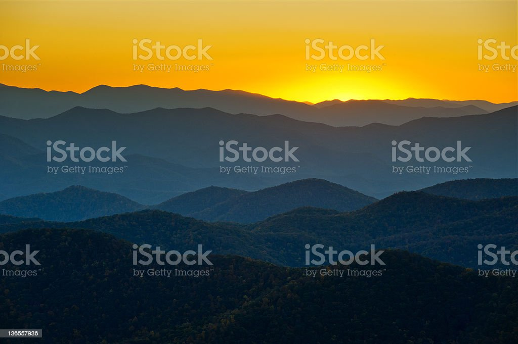 Blue Ridge Parkway Mountains Ridges Layers Sunset Appalachian Scenic Landscape royalty-free stock photo