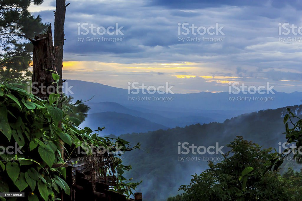 Blue Ridge Parkway Mountains Sunset over Spring royalty-free stock photo