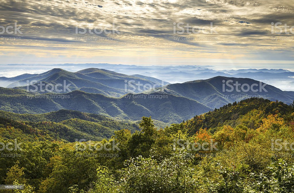 Blue Ridge Parkway National Park Sunrise Scenic Mountains Autumn Landscape stock photo